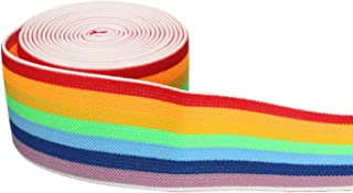 Supers 2-inch Elastic Band Rainbow Pattern Waistband Colorful Stretchy Sewing Elastic Trimming (3 Yards)