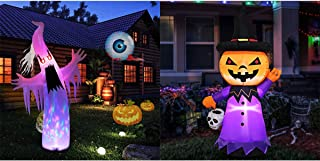 YUNLIGHTS 8FT Blow up Halloween Inflatable Ghost with Build-in Colorful LED Lights & 5 FT Blow up Halloween Inflatable Pumpkin with White LED Lights