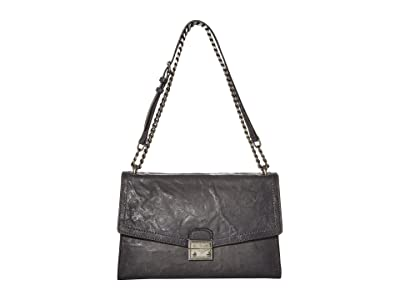 Frye Ella Flap Shoulder (Carbon) Handbags