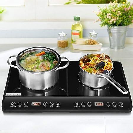 Estufa Eléctrica Portátil 2 Plato Caliente 1800 W Doble Quemador Eléctrico Inducción Cocina Encimera 8 Niveles De Temperatura Variable Ajuste Led Cocina Digital Kitchen Dining
