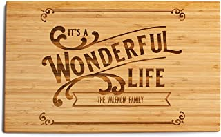 Personalized Christmas Cutting Board, Kitchen Gift for Couples and Family (11 x 17 Single Tone Bamboo Rectangular, It's a Wonderful Life Design)
