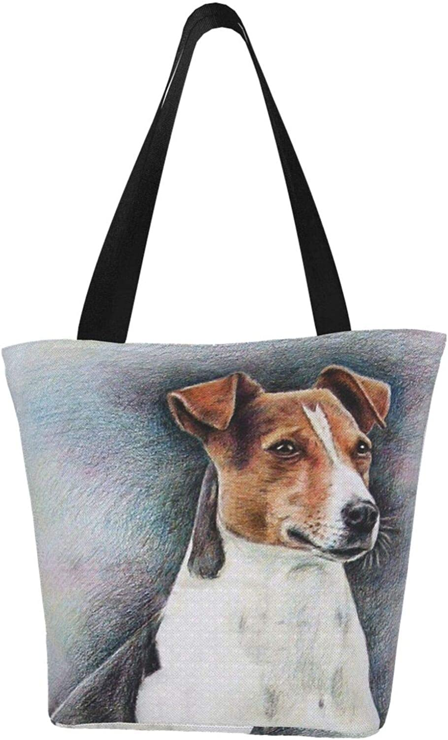 Cute Dog Jack Russell Terrier Gift Puppy Pet Themed Printed Women Canvas Handbag Zipper Shoulder Bag Work Booksbag Tote Purse Leisure Hobo Bag For Shopping
