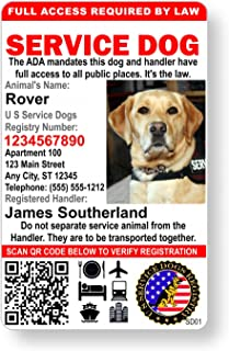 Just 4 Paws Custom Holographic QR Code Service Dog ID Card with Registration to U S Service Dogs Registry Plus ID Holder &...