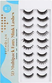 BEPHOLAN 10 Pairs False Eyelashes Synthetic Fiber Material| Mix 10 Styles | 3D Mink Lashes| Reusable| 100% Handmade & Crue...
