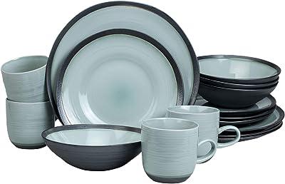 Euro Ceramica Diana 16 Piece Modern Dinnerware Set, Dinner, Salad Plate, Soup Bowl, Mug, Service for 4, Mint Green/Graphic Grey