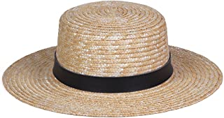 Women's Spencer Leather Banded Straw Boater Sun Hat