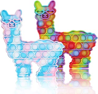 WHATOOK Push POP Fidget Llama Toys: 2pack Sensory Special Needs Stress Relief and Anti-Anxiety Silicone Squeeze Bubble Alp...