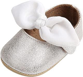 Weixinbuy Baby Girls' Anti-Slip Soft Sole Bowknot Decor Princess Shoes Mary Jane Flats