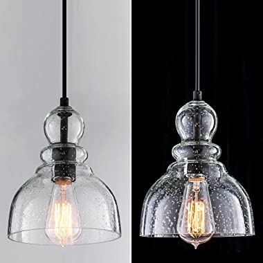 LANROS Farmhouse Kitchen Pendant Lighting with Handblown Clear Seeded Glass Shade, Adjustable Cord Mini Ceiling Light Fixture