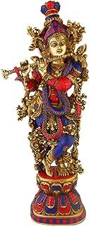 Statuestudio Hindu Religious Lord Gopala Krishna Murti Brass Inlay Statue/Divine God of Love Flute Playing Sculpture Idol/Indian Decorative Shri Krishna Spiritual Pooja Figurine-Blue Red