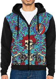 Grate-ful Dancing Bear Dead Mens Long Sleeve Zip-up Hoodies Novelty Sweater Fashion Sweatshirt Tops with Kanga Pocket