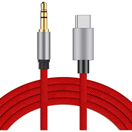 USB C to 3.5mm Audio Aux Cable, Vcddom Premium Nylon Type C to 3.5mm Car Aux Cord for Google Pixel 5/4/4XL/3/3 XL, Samsung Galaxy Note 20/20+/S20/20+/20 Ultra, OnePlus 6T/7/7T and More (Red)