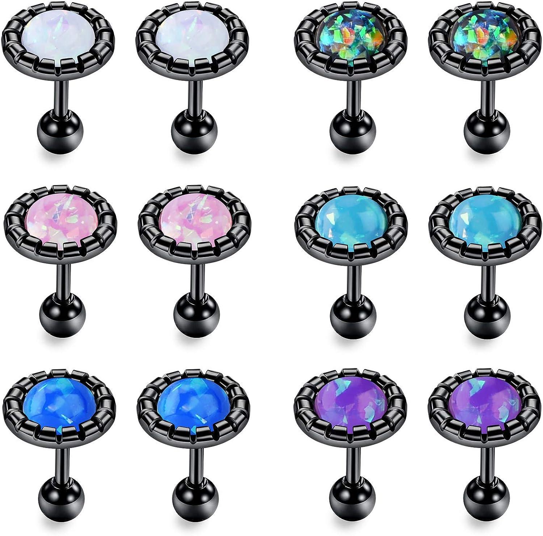 JFORYOU 16G Tragus Earrings Opal Helix Cartilage Ear Studs Piercing for Women Girls Man Piercing Body Jewelry