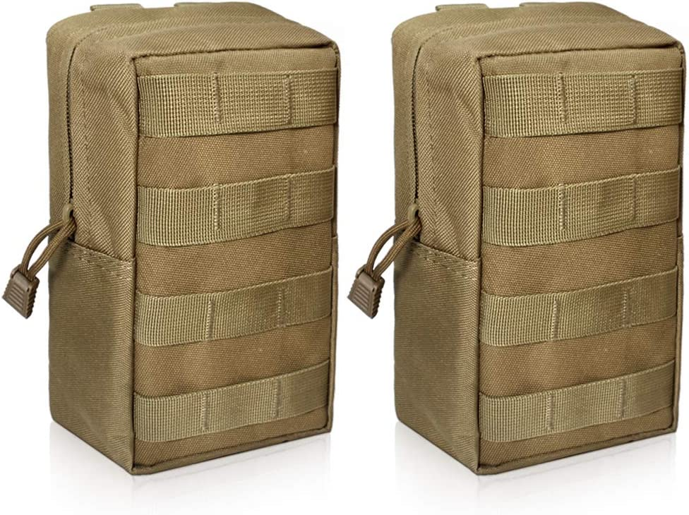 WYNEX 2 Pack Molle Pouches, Tactical EDC Utility Pouch Compact Resistente al Agua, Organizar Gadget de Engranaje pequeño para Mochila Militar