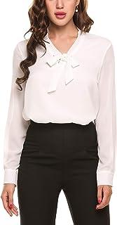 Beyove ACEVOG Damen Elegant Business Chiffonbluse Schluppenshirt T-Shirt mit Schleife V-Ausschnitt Einfarbig Tops