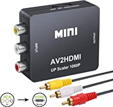 LiNKFOR RCA to HDMI Converter with 5ft RCA Audio Video Cable Support PAL/NTSC 1080P Mini RCA Composite CVBS AV to HDMI Video Audio Converter Adapter for TV STB VHS VCR Camera DVD PC Laptop PS3