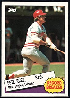 1985 Topps Baseball #6 Pete Rose Cincinnati Reds Record Breaker Official MLB Trading Card (stock photos used) Near Mint or better condition