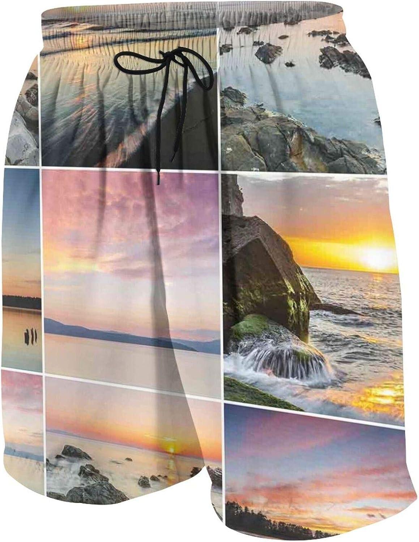 TENJONE Teen Beach Pants Slim Fit Swim Trunks Beach Half Pants for Teens Boys,Sunset Panorama Sun Rays Over Sea Stones Mountains Natural Paradise Coast Summer,Quick Dry Swimwear White,XL(18-20