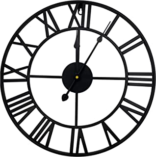 """DORBOKER 16"""" Premium Metal Wall Clock with 3D Roman Numerals Silent Non-Ticking Wall Clock Battery Operated Rustic Decorat..."""