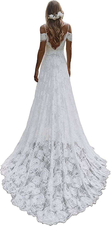 BeautBoy Women's Lace Minneapolis Bargain Mall Backless Boho Dresses Wedding Neck V Long
