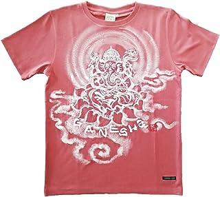Tシャツ 麻生地 ガネーシャ イラスト前面 赤 ヘンプ 半袖 和柄 仏画 日本画