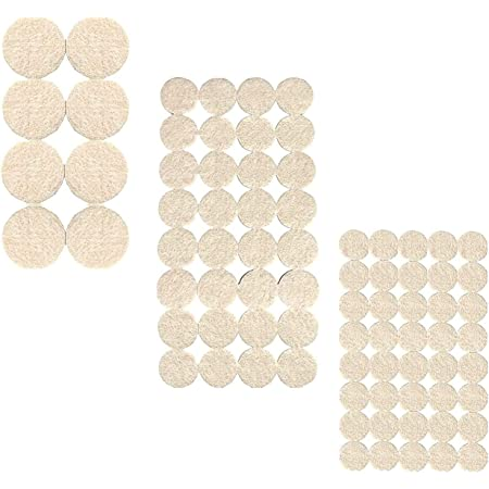 Lukzer 80 PCs Scratch Proof Felt Pad Assorted Furniture Pads (Beige) / Multi-Functional Self-Adhesive Noise Insulation Floor Bumper Self Adhesive Floor Protector/Door Table Cabinet Child Safety