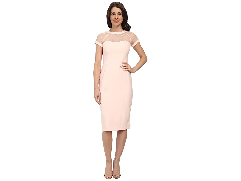 Maggy London Illusion Top Crepe Dress (Blush) Women