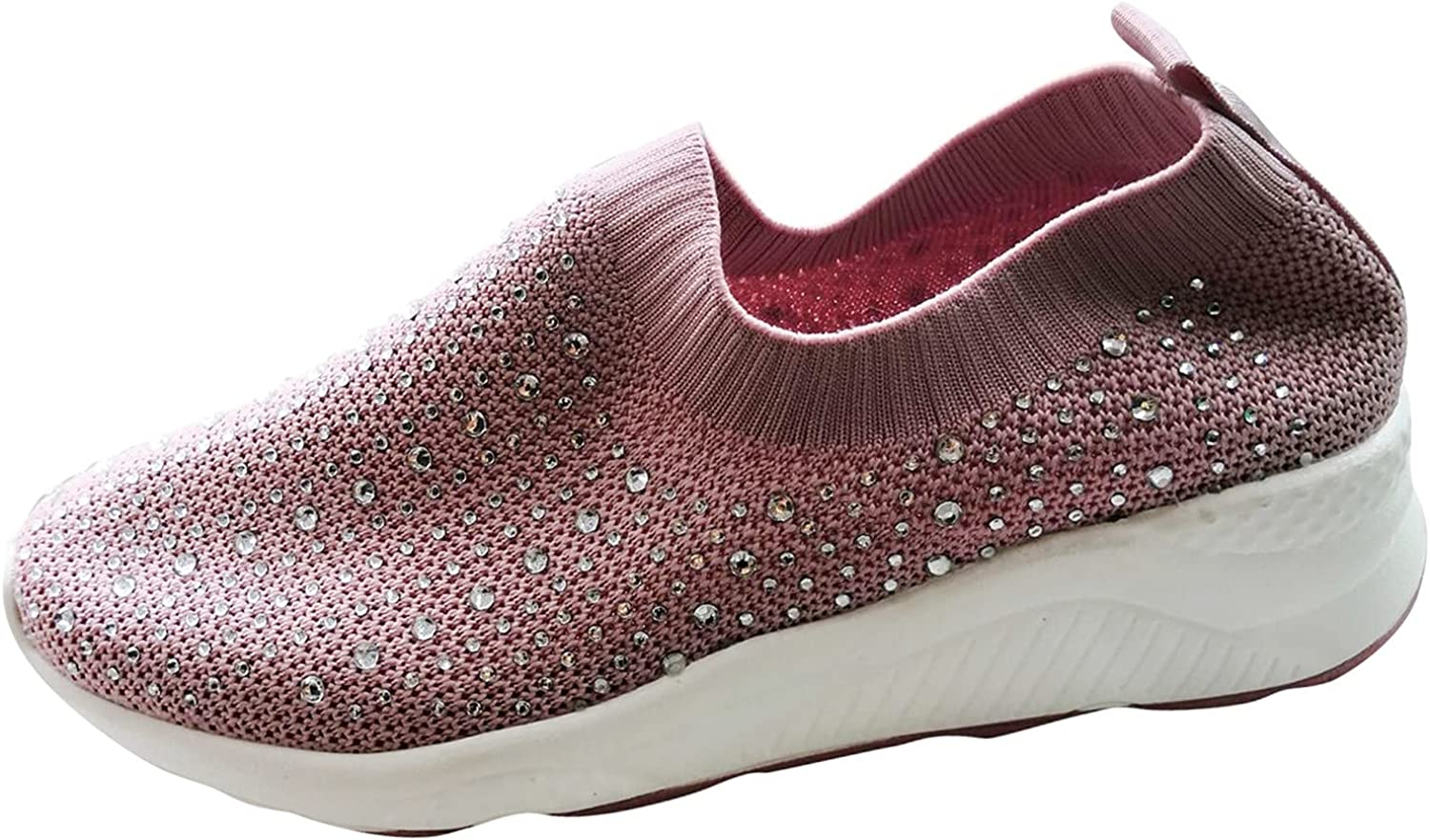 Women's Platform Rhinestone Knitted Casual Shoes Crystal Breathable Casual Walking Orthopedic Canvas Slip On Arch Support Sneakers