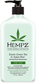Hempz Exotic Natural Herbal Body Moisturizer with Pure Hemp Seed Oil, Green Tea and Asian Pear, 17 Fluid Ounce - Pure, Nourishing Vegan Skin Lotion for Dryness and Flaking with Acai and Goji Berry