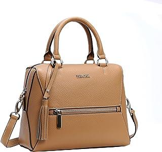 Heshe Womens Leather Shoulder Handbags Top Handle Bag Tote Designer Ladies Purse Cross Body Bag