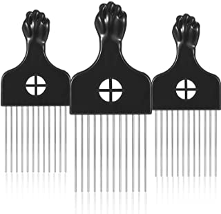 3 Packs Afro Comb Metal Pick Comb Afro Braid Pick Hairdressing Detangle Wig Braid Hair Styling Comb Styling Tool