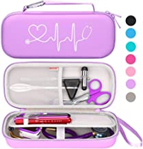 BOVKE Travel Case for 3M Littmann Classic III, Lightweight II S.E, Cardiology IV Diagnostic, MDF Acoustica Deluxe Stethoscopes - Extra Room for Taylor Percussion Reflex Hammer and Penlight, Purple