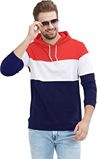 LEWEL Men's Full Sleeve Hooded T-Shirt (Red, White, Navy)