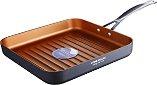 Copper Pan 10-Inch Nonstick Deep Ribbed Square Grill Pan, Deep Griddle Pan with Stainless Steel Handle, Dishwasher Safe Ov...