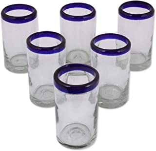 NOVICA Artisan Crafted Hand Blown Clear Blue Rim Recycled Glass Juice Glasses, 8 oz. 'Cobalt' (set of 6)