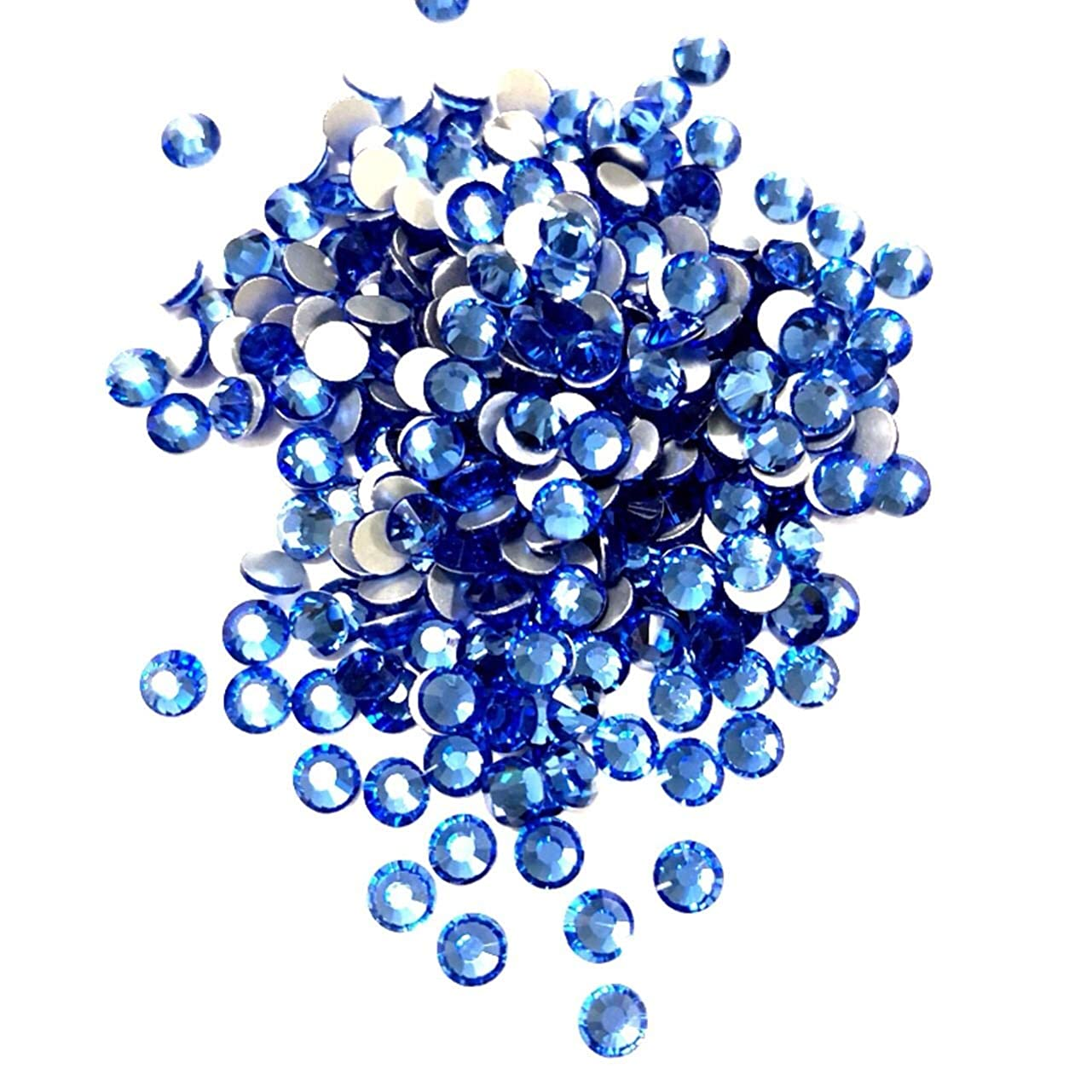 トピック日食苦い【ネイルウーマン】最高品質ガラスストーン!スワロ同等の輝き! ライトサファイア ブルー 水色 (約100粒入り) (ライトサファイア) (SS12, ライトサファイア)