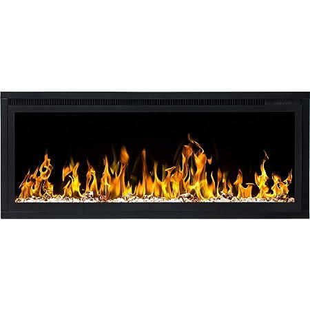 pantalla protectora calefactor de 1500 W mando a distancia iluminaci/ón LED de colores regulador de intensidad 182 cm de ancho Chimenea el/éctrica Glow Fire Mars XL