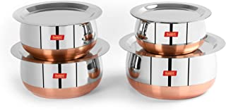 Sumeet Stainless Steel Copper Bottom Belly Shape 4 Pc Tope / Cookware/ Pot Set with Lid 380ML, 500ML, 780ML, 1.1Ltr, (Silver)