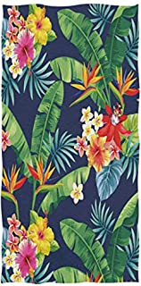 Wamika Watercolor Palm Leaves Tropical Flowers Soft Hand Towels, Colorful Floral Beach Towel Highly Absorbent Durable Towel for Hand Face, Pool Gym Spa Use Bathroom Decor 16X30 Inches