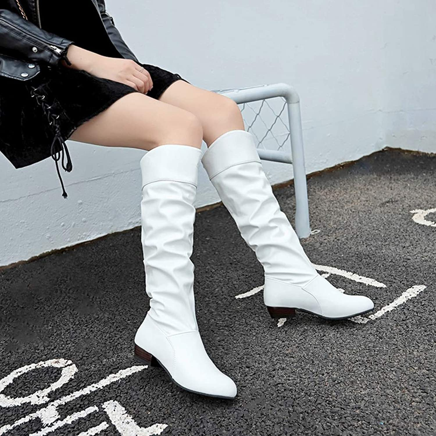 T-JULY Fashion Women Over-The-Knee Boots Slip-on Thigh High Heels Party shoes