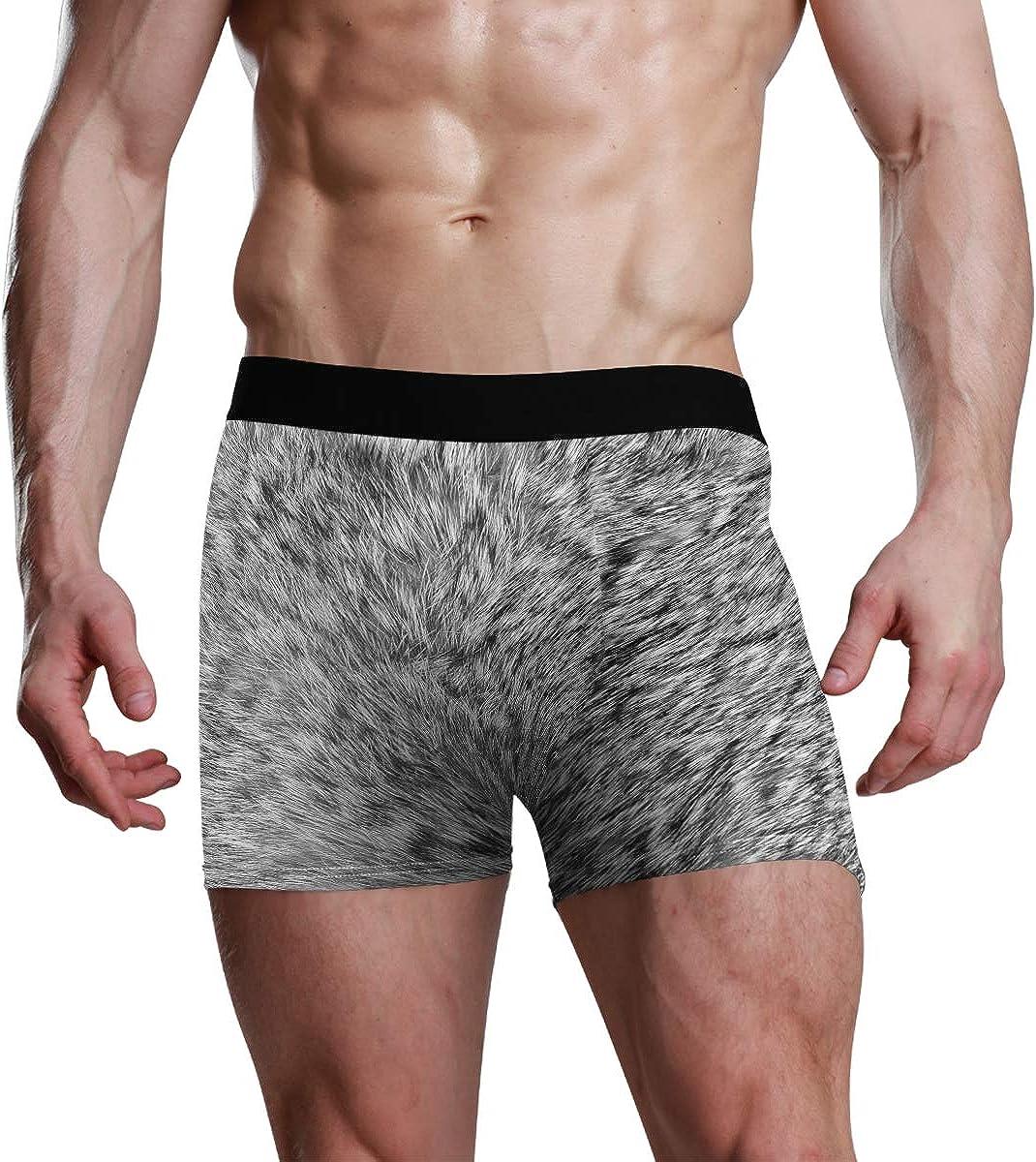 Mens Boxer Briefs Grey Plush Low Rise Trunks Underwear Breathable Bikini Boys