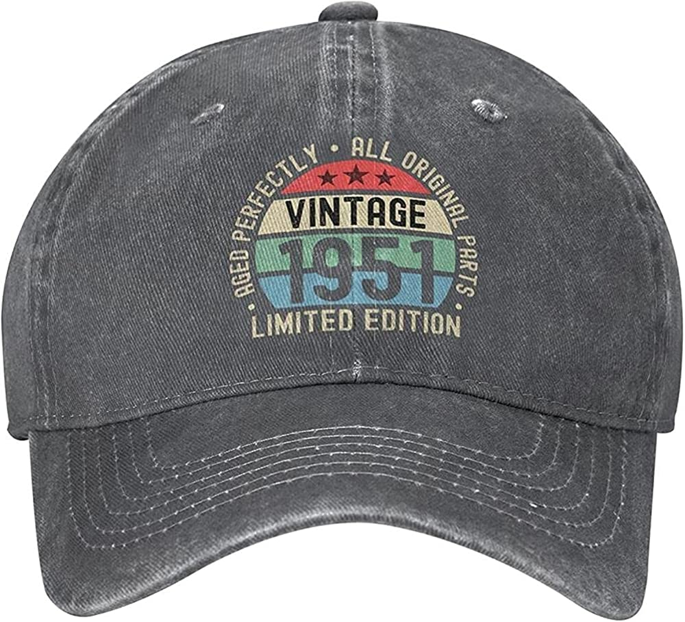 Fashion 70th Birthday Vintage 1951 Cotton Adjustable Hat Washable Baseball Cap Trucker Hat Cowboy Hat Gift Unisex