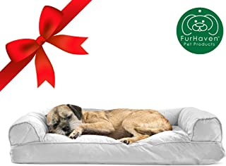 Furhaven Pet Dog Bed | Pillow Cushion Traditional Sofa & Deluxe Orthopedic Rectangular Foam Mattress Pet Bed w/ Removable Cover for Dogs & Cats - Available in Multiple Colors & Styles