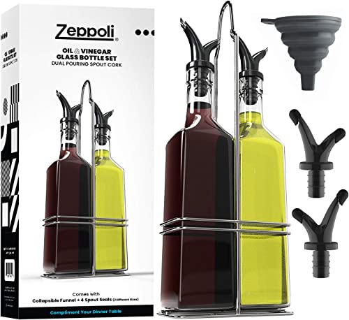 popular Zeppoli outlet online sale Oil and Vinegar high quality Bottle Dispenser Set with Stainless Steel Rack and Removable Cork - Dual Spout, Pouring Funnel, 4 Spout Seals, 17 oz Olive Oil Bottle and Vinegar Glass Set (2 Pack Bottle Set 17oz) outlet sale