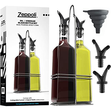 Zeppoli Oil and Vinegar Bottle Dispenser Set with Stainless Steel Rack and Removable Cork - Dual Spout, Pouring Funnel, 4 Spout Seals, 17 oz Olive Oil Bottle and Vinegar Glass Set (2 Pack Bottle Set 17oz)