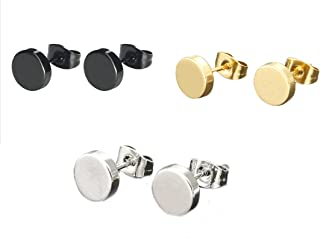 Jewelry 3 Pairs Womens Mens Round Stud Earrings,Post with Friction back,6/8/10/12MM