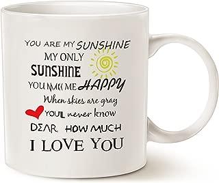 MAUAG Inspirational Love Coffee Mug Christmas Gifts, You Are My Sunshine Word Art Typography Coffee Cup White, 11 Oz