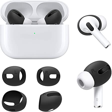 DamonLight AirPods Pro Cover [Fit in The case] [Comfortable Listening] Compatible with AirPods Pro Anti-Slip Silicone Ear Tips Soft Sport Covers AirPods Pro Accessories 2 Pairs (Black)