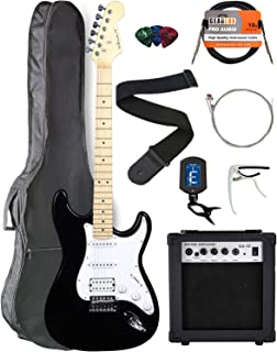 Vault ST1-E Black Electric Guitar with Maple Neck Bundle with Gig Bag, 10w Amp, Strap, Tuner, Strings, Instrument Cable, Capo, and Picks
