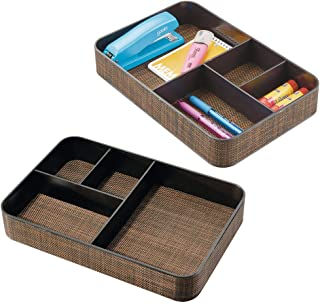 $22 » mDesign Plastic Divided Drawer Organizer Tray for Home Office, Desk Drawer, Shelf, Closet - Holds Highlighters, Pens, Scissors, Adhesive Tape, Paper Clips, Note Pads - 4 Sections, 2 Pack - Bronze